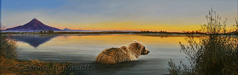 Grizzly, Kronotsky River, Russia  Original Painting by Sandra Nahornoff