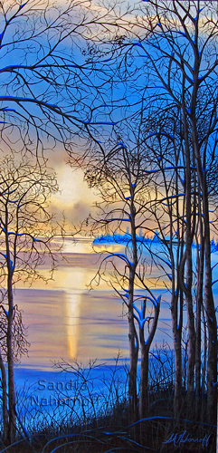 Sunset Reflections on Ice Original Painting by Sandra Nahornoff